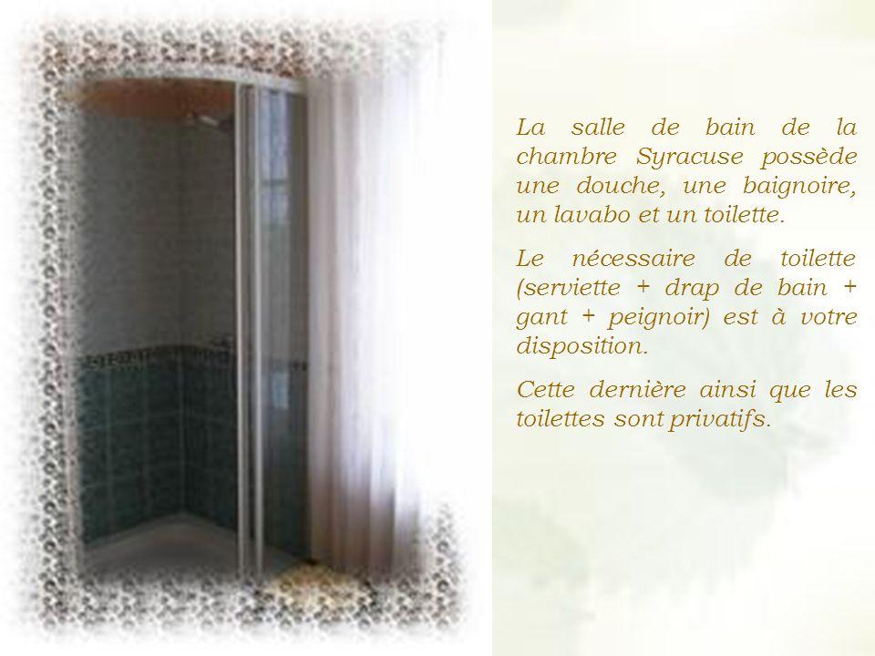 La salle de bain de la chambre Syracuse possède une douche, une baignoire, un lavabo et un toilette.