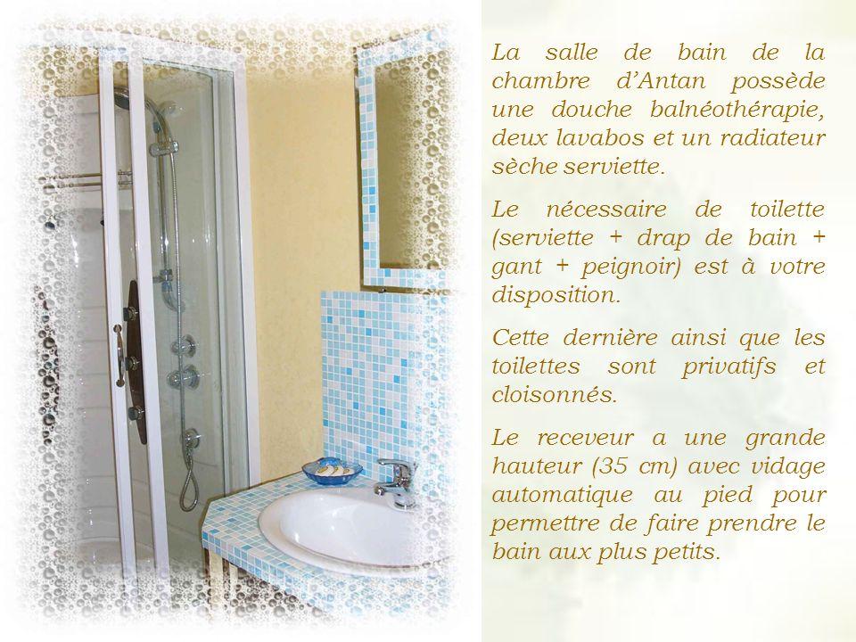 La salle de bain de la chambre dAntan possède une douche balnéothérapie, deux lavabos et un radiateur sèche serviette.