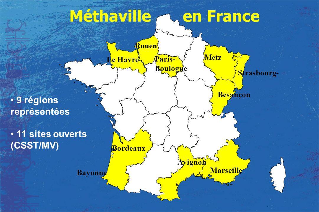 Avignon Bayonne Bordeaux Le Havre Paris- Boulogne Metz Strasbourg- 9 régions représentées 11 sites ouverts (CSST/MV) Marseille Besançon Rouen Méthavil