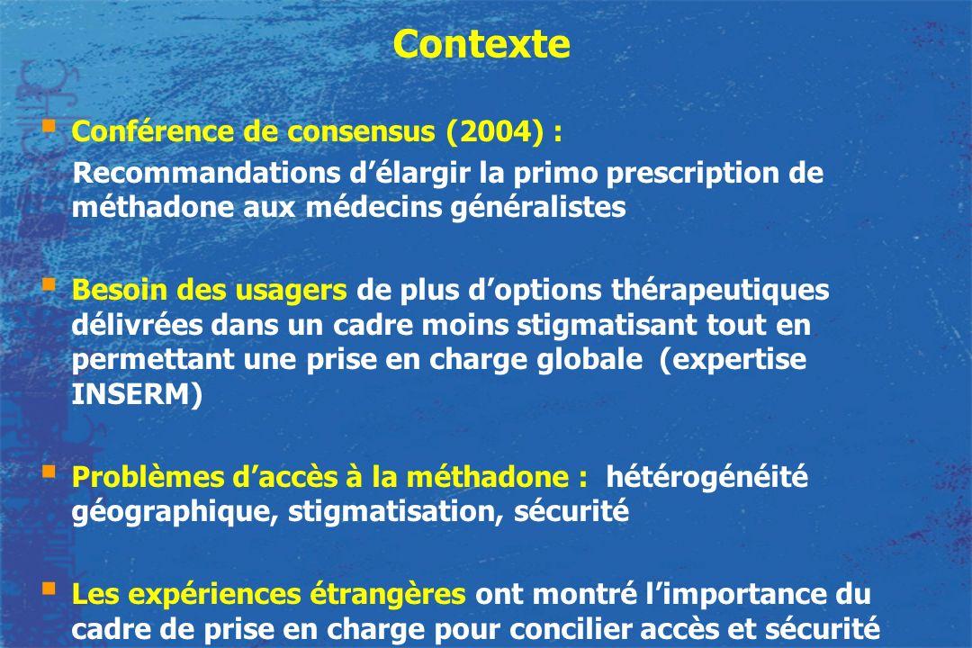 Contexte Conférence de consensus (2004) : Recommandations délargir la primo prescription de méthadone aux médecins généralistes Besoin des usagers de