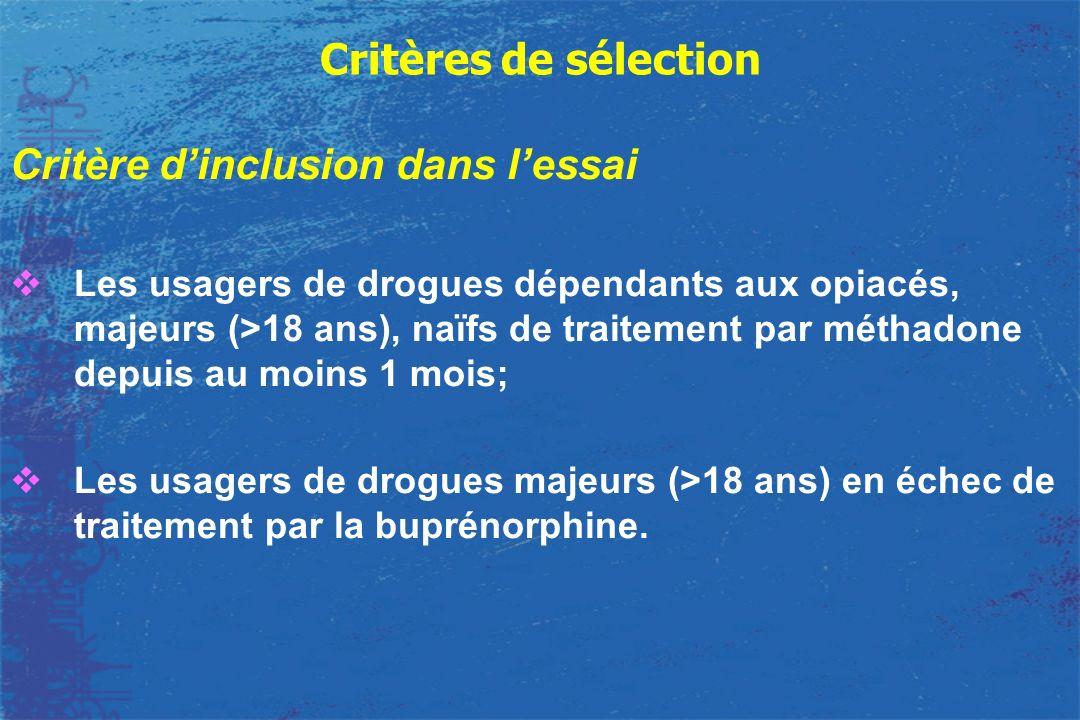 Critères de sélection Critère dinclusion dans lessai Les usagers de drogues dépendants aux opiacés, majeurs (>18 ans), naïfs de traitement par méthado