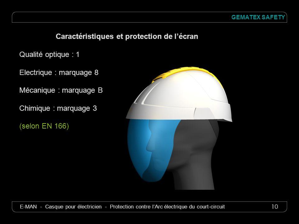 10 GEMATEX SAFETY E-MAN - Casque pour électricien - Protection contre lArc électrique du court-circuit Caractéristiques et protection de lécran Qualit