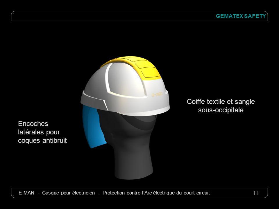 11 GEMATEX SAFETY E-MAN - Casque pour électricien - Protection contre lArc électrique du court-circuit Coiffe textile et sangle sous-occipitale Encoch