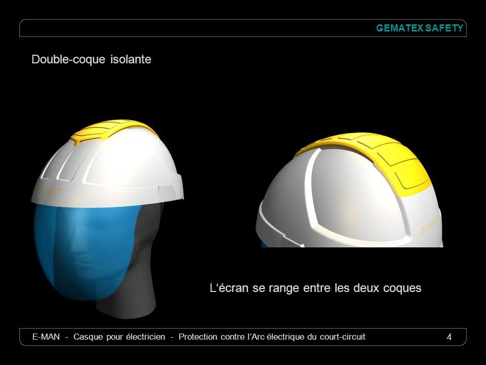 4 GEMATEX SAFETY E-MAN - Casque pour électricien - Protection contre lArc électrique du court-circuit Lécran se range entre les deux coques Double-coq