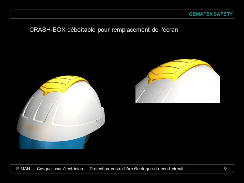 9 GEMATEX SAFETY E-MAN - Casque pour électricien - Protection contre lArc électrique du court-circuit CRASH-BOX déboîtable pour remplacement de lécran