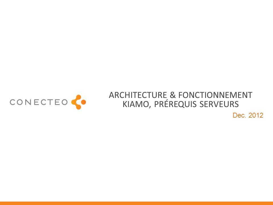 ARCHITECTURE & FONCTIONNEMENT KIAMO, PRÉREQUIS SERVEURS Dec. 2012