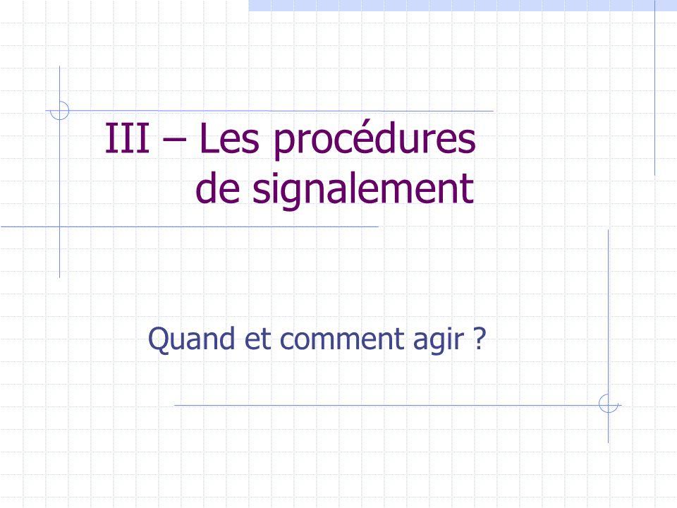 III – Les procédures de signalement Quand et comment agir ?