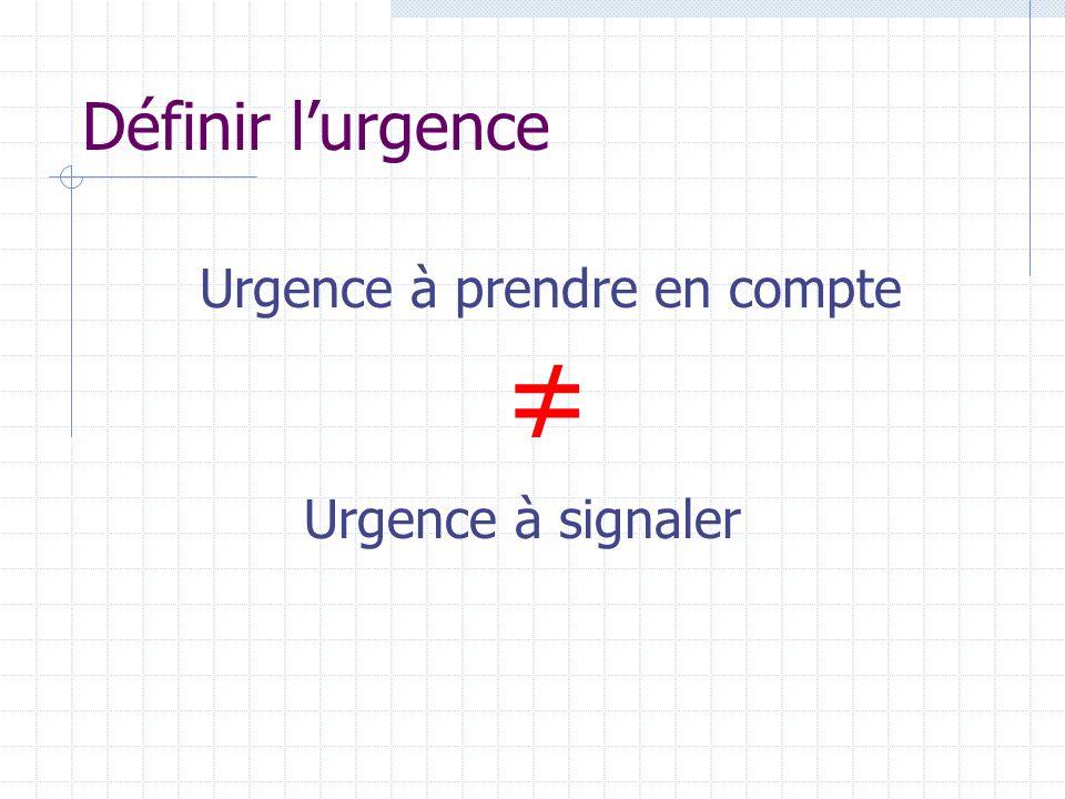 Définir lurgence Urgence à prendre en compte Urgence à signaler