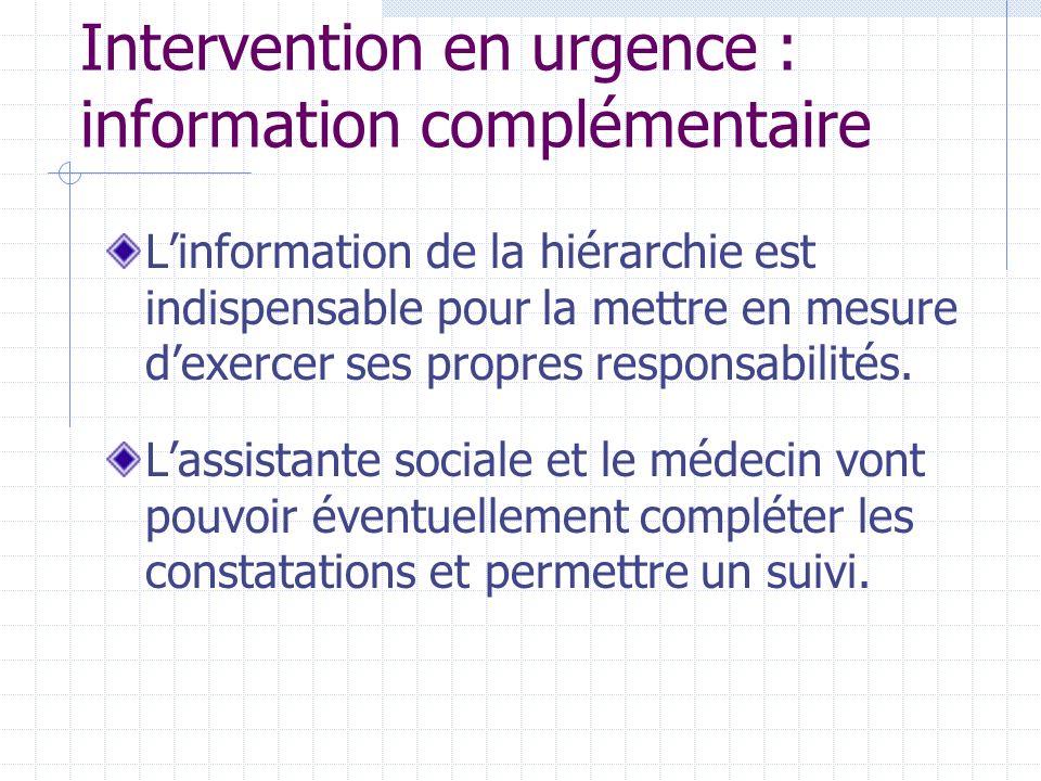Intervention en urgence : information complémentaire Linformation de la hiérarchie est indispensable pour la mettre en mesure dexercer ses propres responsabilités.