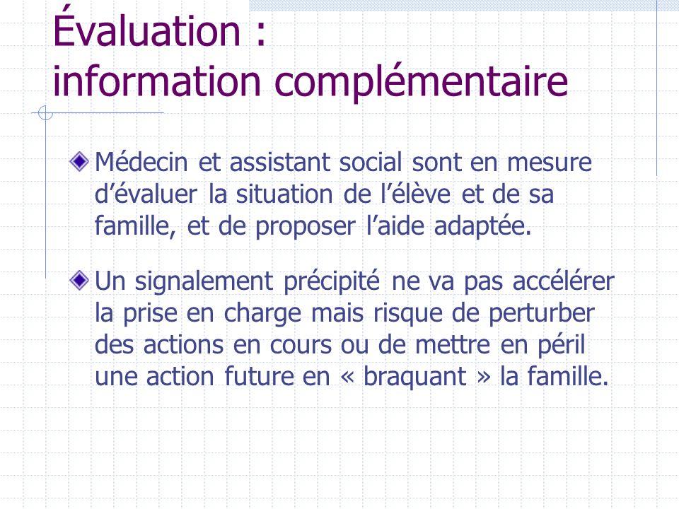 Évaluation : information complémentaire Médecin et assistant social sont en mesure dévaluer la situation de lélève et de sa famille, et de proposer laide adaptée.