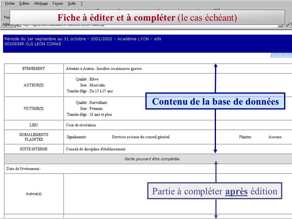 Contenu de la base de données Partie à compléter après édition Fiche à éditer et à compléter (le cas échéant)