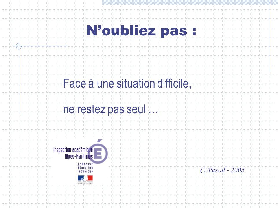Face à une situation difficile, ne restez pas seul … Noubliez pas : C. Pascal - 2003