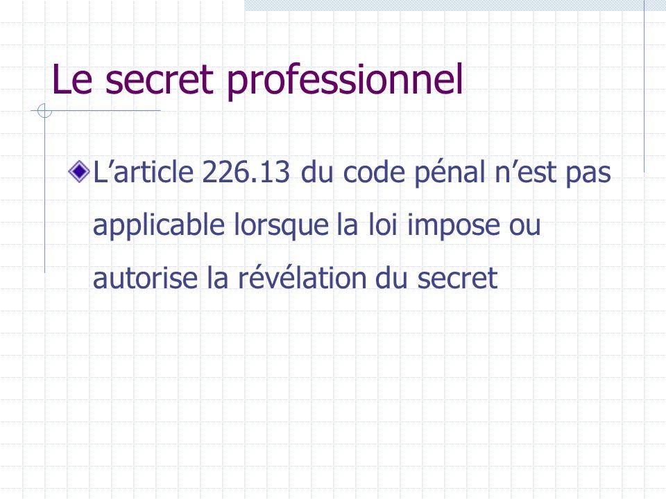Le secret professionnel Larticle 226.13 du code pénal nest pas applicable lorsque la loi impose ou autorise la révélation du secret