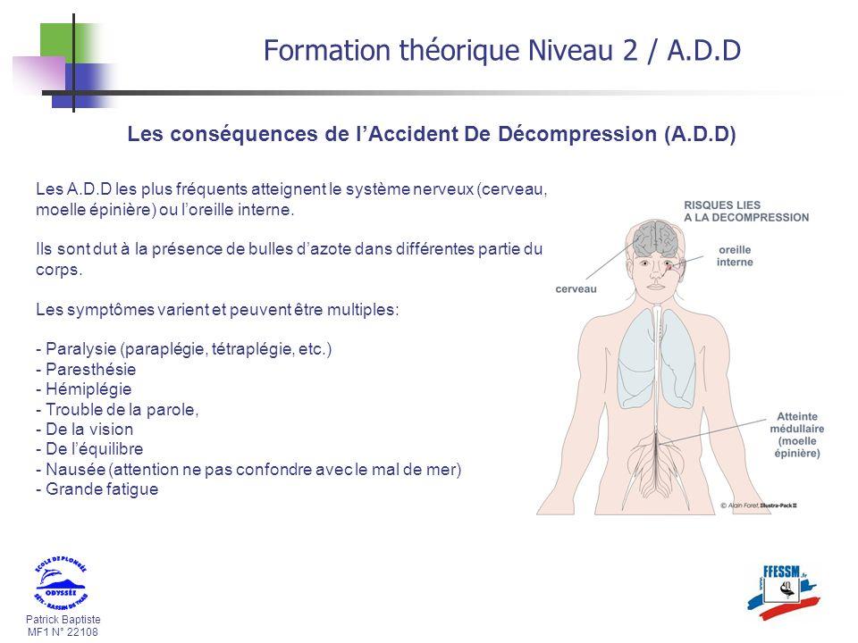 Patrick Baptiste MF1 N° 22108 Les conséquences de lAccident De Décompression (A.D.D) Formation théorique Niveau 2 / A.D.D Les A.D.D les plus fréquents