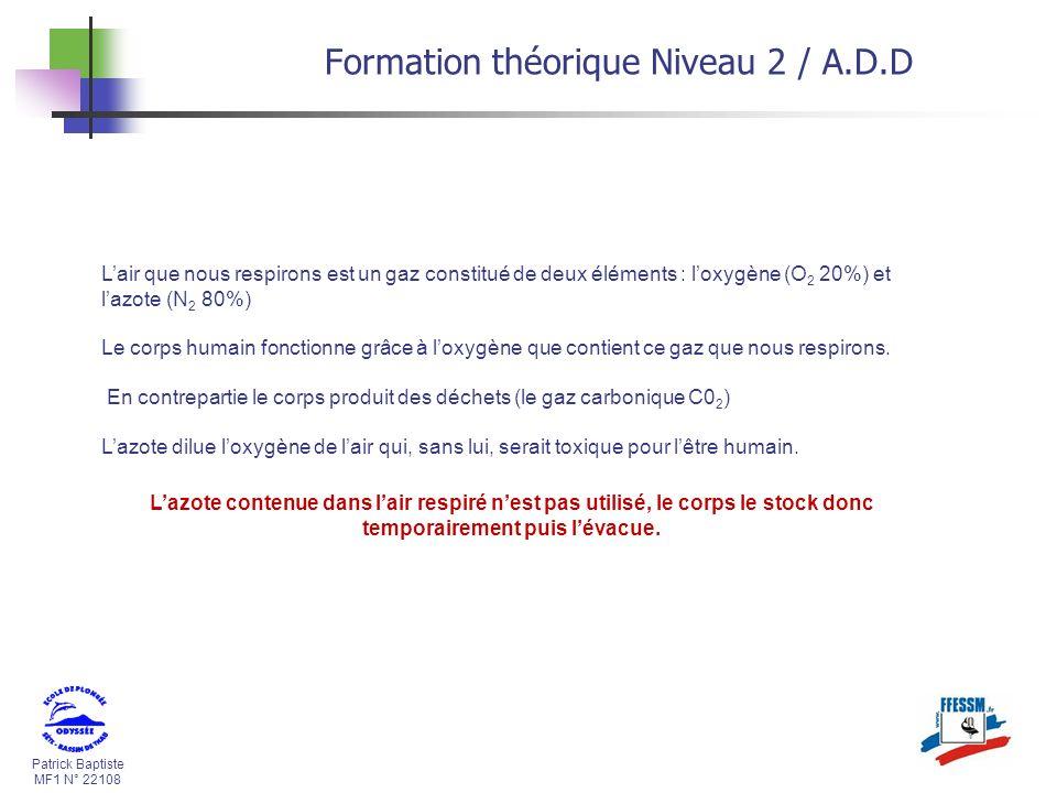 Patrick Baptiste MF1 N° 22108 Formation théorique Niveau 2 / A.D.D Lair que nous respirons est un gaz constitué de deux éléments : loxygène (O 2 20%)