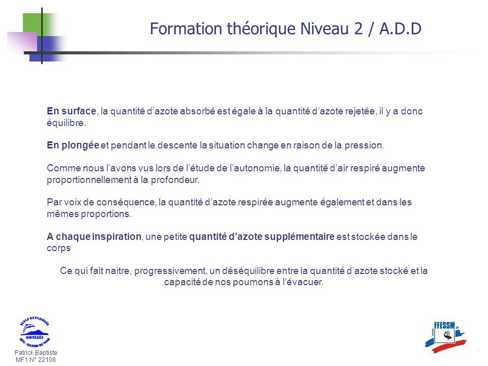 Patrick Baptiste MF1 N° 22108 Formation théorique Niveau 2 / A.D.D