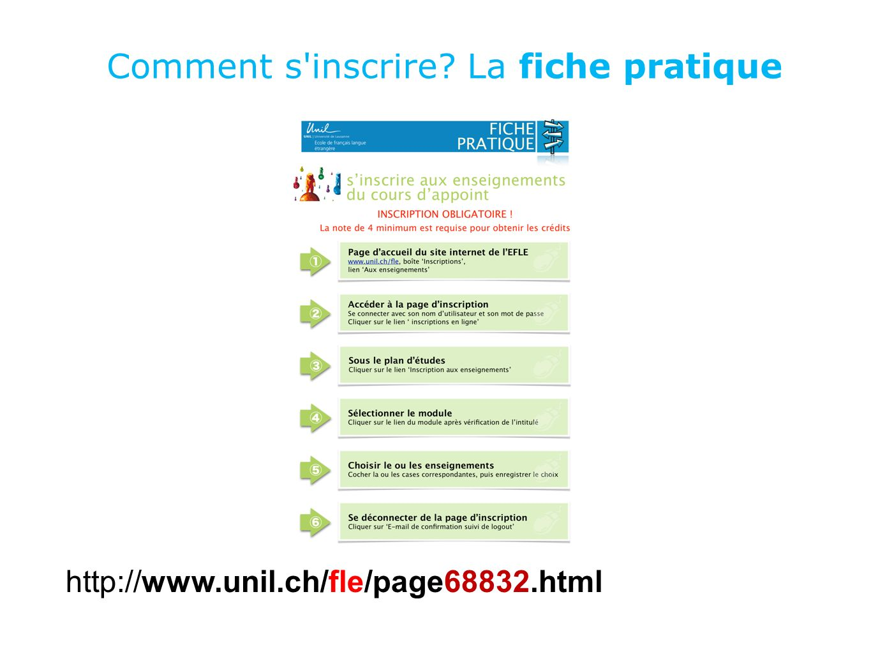 Comment s'inscrire? La fiche pratique http://www.unil.ch/fle/page68832.html