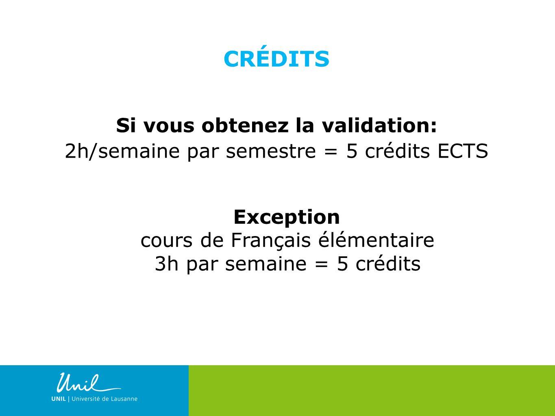 23 CRÉDITS Si vous obtenez la validation: 2h/semaine par semestre = 5 crédits ECTS Exception cours de Français élémentaire 3h par semaine = 5 crédits