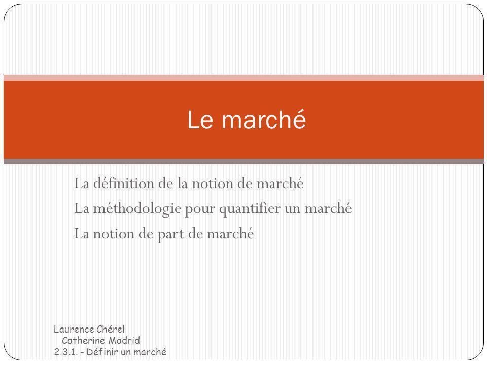 La définition de la notion de marché La méthodologie pour quantifier un marché La notion de part de marché Le marché Laurence Chérel Catherine Madrid