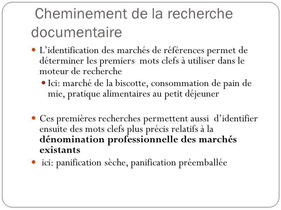 Cheminement de la recherche documentaire Lidentification des marchés de références permet de déterminer les premiers mots clefs à utiliser dans le mot