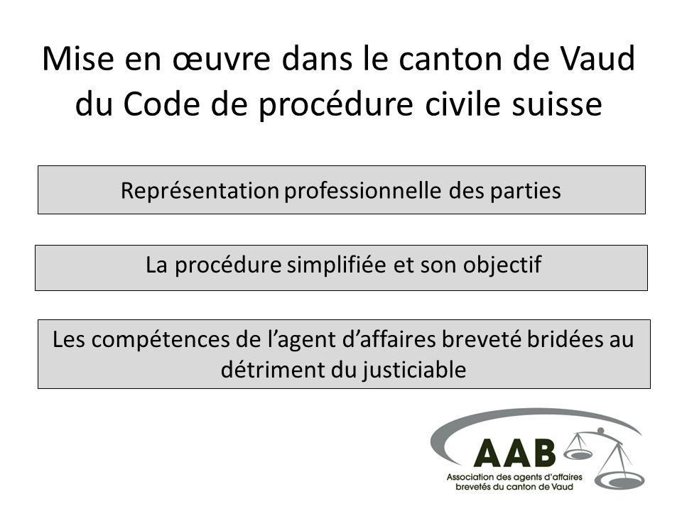Mise en œuvre dans le canton de Vaud du Code de procédure civile suisse Représentation professionnelle des parties La procédure simplifiée et son obje
