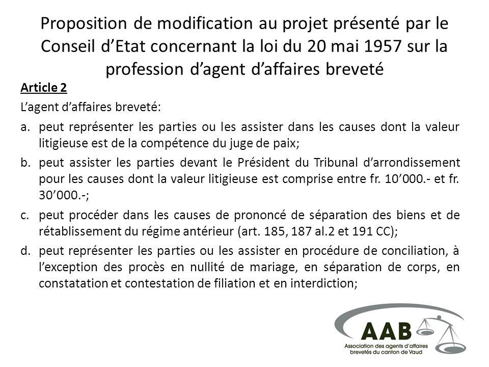 Proposition de modification au projet présenté par le Conseil dEtat concernant la loi du 20 mai 1957 sur la profession dagent daffaires breveté Articl