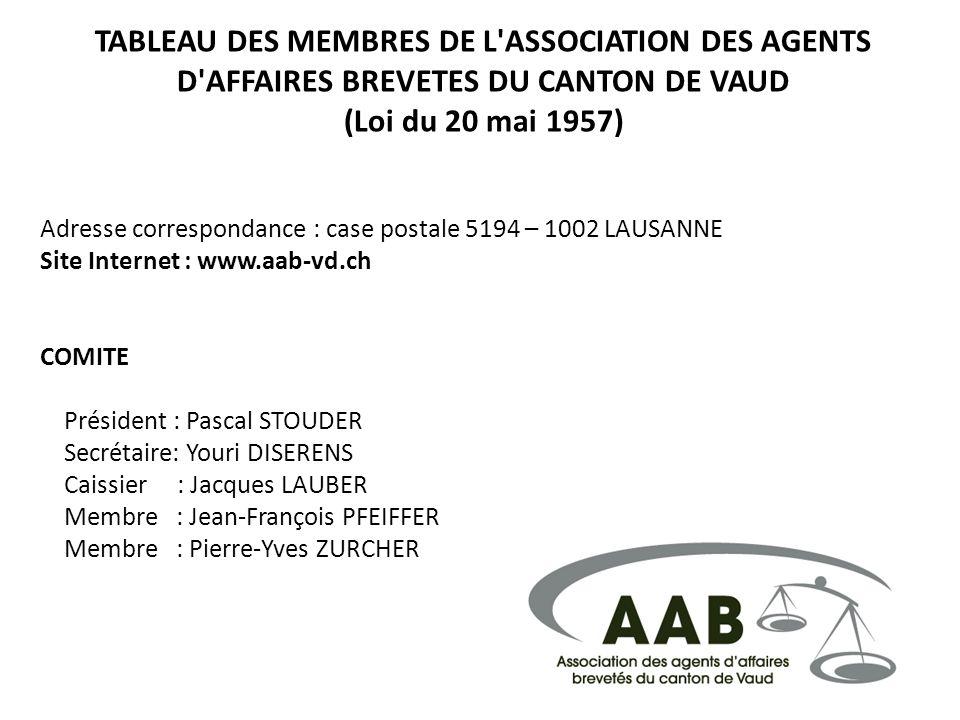 TABLEAU DES MEMBRES DE L'ASSOCIATION DES AGENTS D'AFFAIRES BREVETES DU CANTON DE VAUD (Loi du 20 mai 1957) Adresse correspondance : case postale 5194