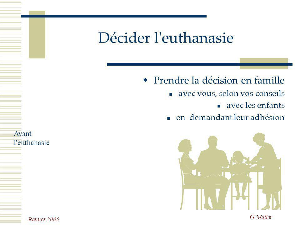 G Muller Rennes 2005 Décider l'euthanasie Savoir décider que le moment est venu et décrire les signes d'une souffrance certaine Après des soins pallia
