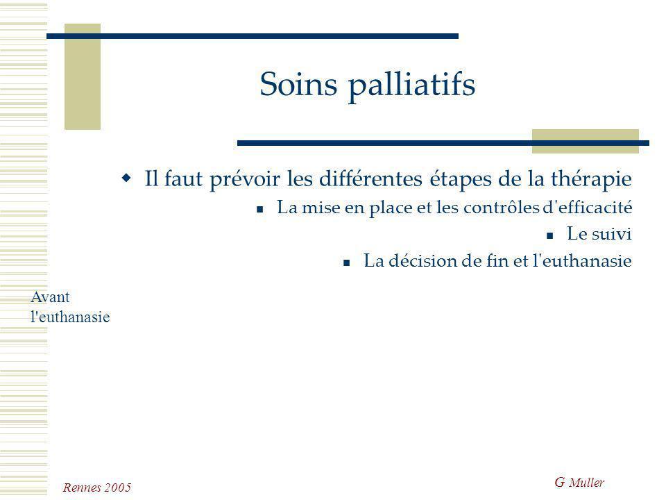 G Muller Rennes 2005 Soins palliatifs Il s'agit de soins qui n'ont pas d'objectifs curatifs, mais qui sont établis pour assurer le meilleur confort à
