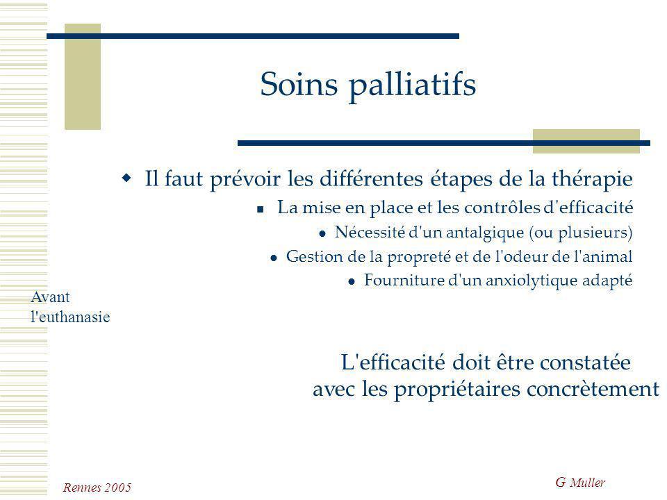 G Muller Rennes 2005 Soins palliatifs Il faut prévoir les différentes étapes de la thérapie La mise en place et les contrôles d'efficacité Le suivi La
