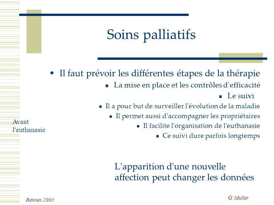 G Muller Rennes 2005 Soins palliatifs Il faut prévoir les différentes étapes de la thérapie La mise en place et les contrôles d'efficacité Nécessité d