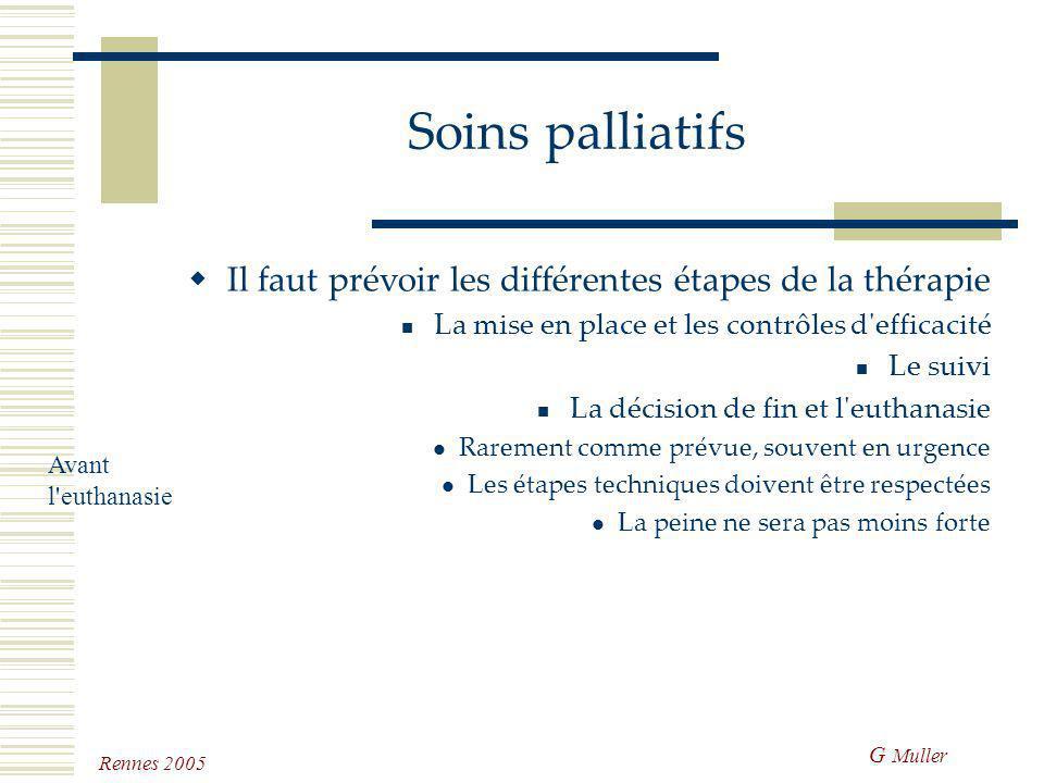 G Muller Rennes 2005 Soins palliatifs Il faut prévoir les différentes étapes de la thérapie La mise en place et les contrôles d'efficacité Le suivi Il
