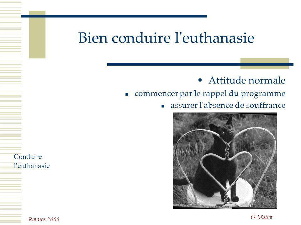 G Muller Rennes 2005 Bien conduire l'euthanasie Si tout est prévu, il faut s'attacher au déroulement de l'événement selon les prévisions rendez-vous ?