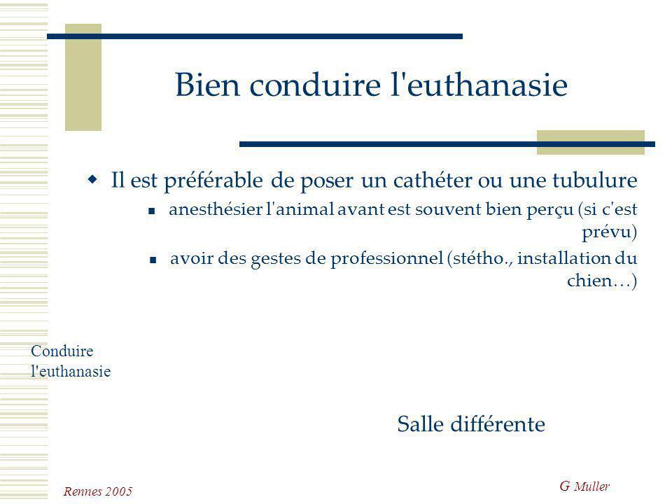 G Muller Rennes 2005 Bien conduire l'euthanasie Attitude normale commencer par le rappel du programme assurer l'absence de souffrance Conduire l'eutha