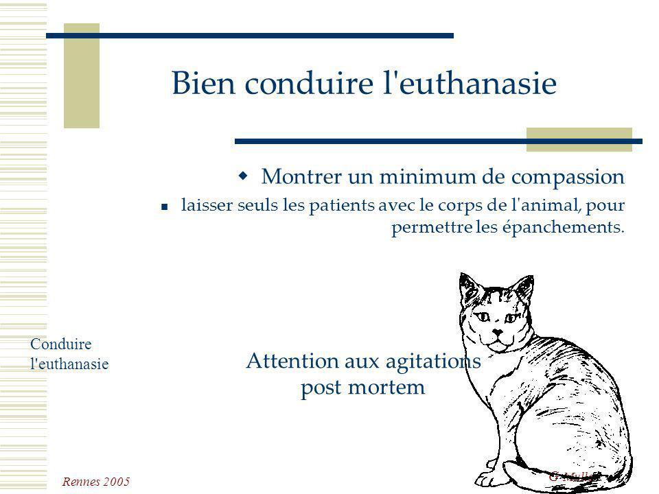 G Muller Rennes 2005 Bien conduire l'euthanasie Montrer un minimum de compassion ne pas être dérangé ne pas engager une blague au téléphone avancer le