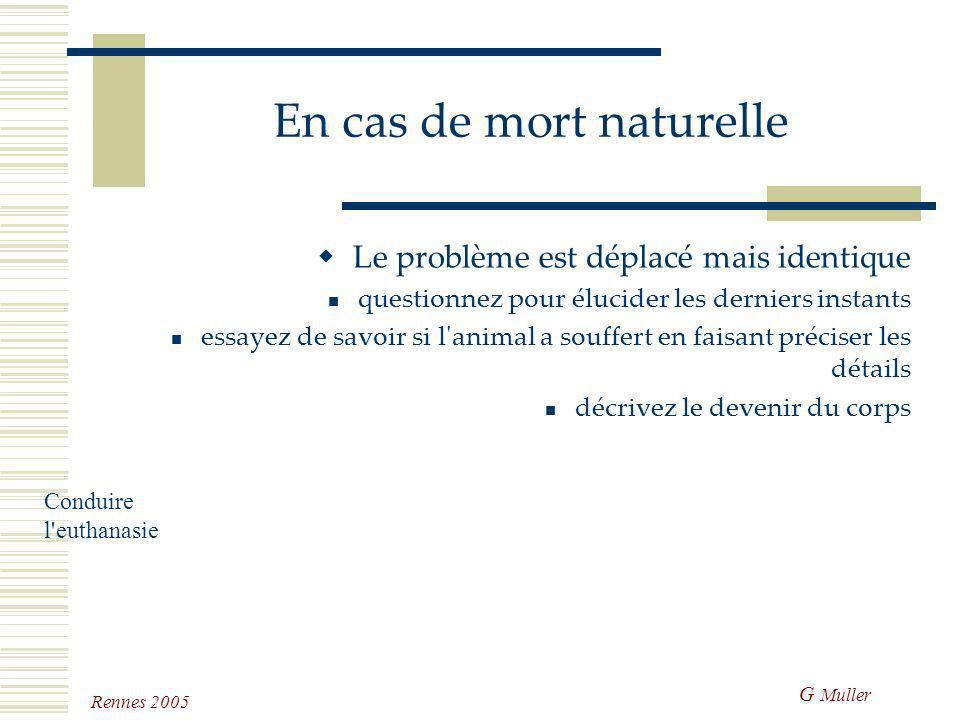 G Muller Rennes 2005 L'euthanasie minute Rien n'est prévu, la maladie vient d'être découverte Ne pas préjuger de l'affection des clients Après les hés