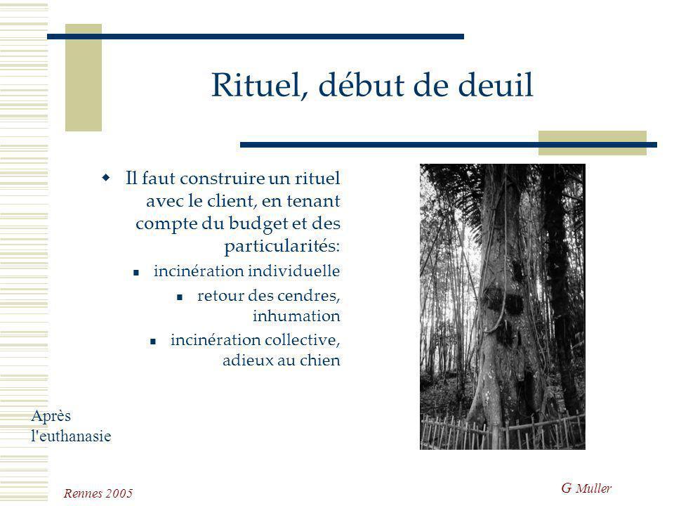 G Muller Rennes 2005 Rituel, début de deuil Le rituel est un comportement dévié en moyen de communication qui soude le groupe en soudant le groupe les