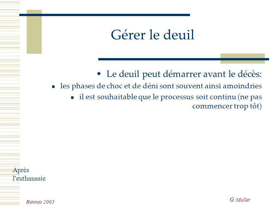 G Muller Rennes 2005 Gérer le deuil Le deuil est un processus évolutif qui permettra à l'individu séparé d'un être cher de reconstruire son univers af