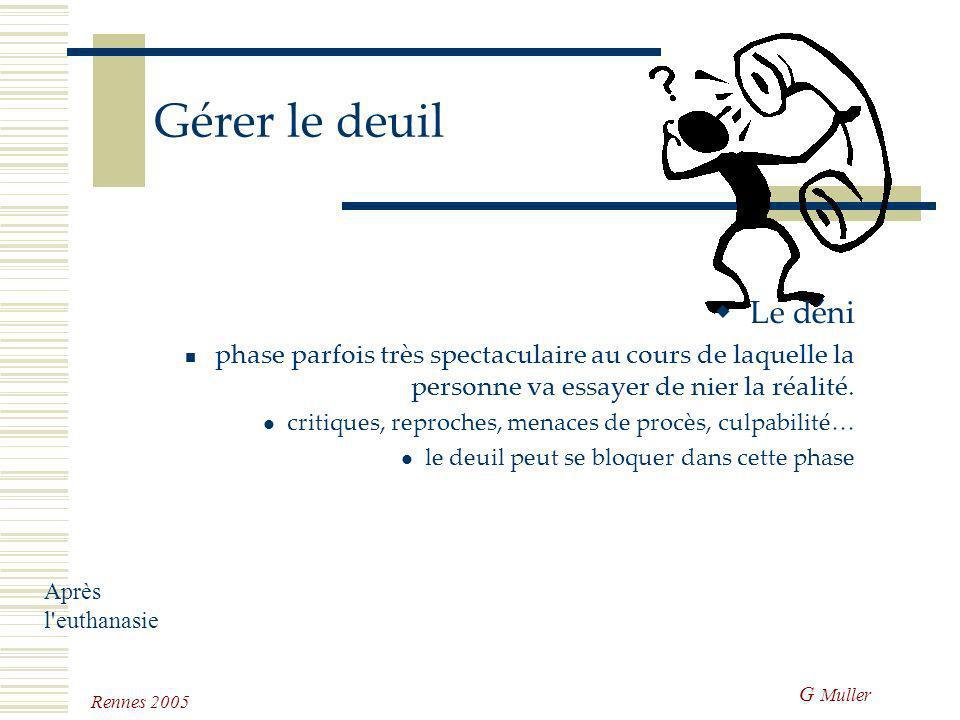 G Muller Rennes 2005 Gérer le deuil Le choc phase spectaculaire qui peut prendre diverses formes: pleurs, cris, hébétude… plus violent si l'individu n