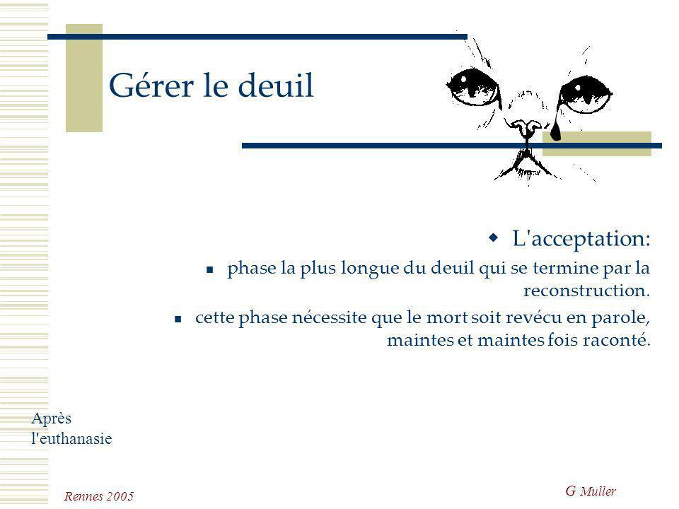 G Muller Rennes 2005 Gérer le deuil Le déni phase parfois très spectaculaire au cours de laquelle la personne va essayer de nier la réalité. critiques