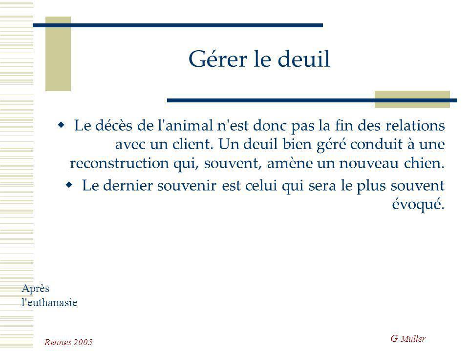 G Muller Rennes 2005 Gérer le deuil Le vétérinaire doit tenir sa place dans chaque phase. Pour ces trois phases, le dialogue (avec ses capacités d'éco