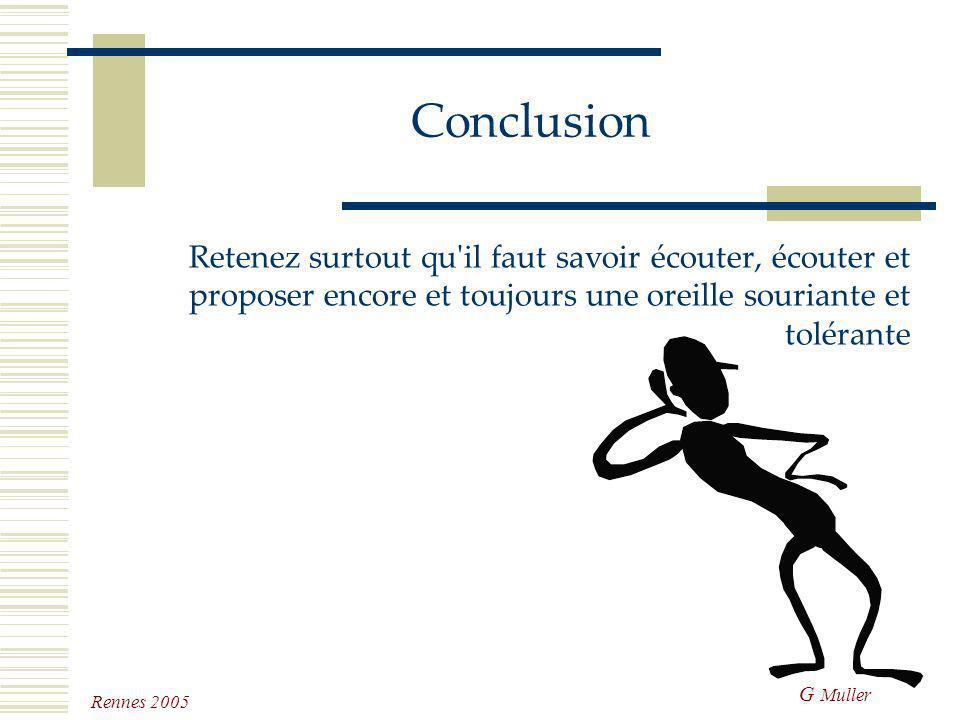 G Muller Rennes 2005 Conclusion Les chiens et les chats ne viennent jamais seuls dans nos hôpitaux il faut aider et aimer les maîtres il faut les comp