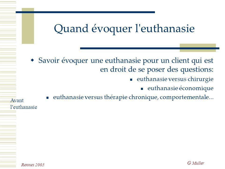 G Muller Rennes 2005 Avant l'euthanasie Discuter ouvertement de la mort Evoquer, préparer, décider l'euthanasie Mettre en place une thérapie palliativ