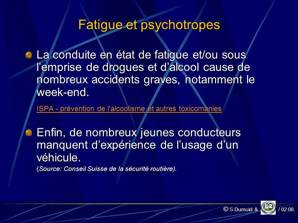 Fatigue et psychotropes La conduite en état de fatigue et/ou sous lemprise de drogues et dalcool cause de nombreux accidents graves, notamment le week-end.