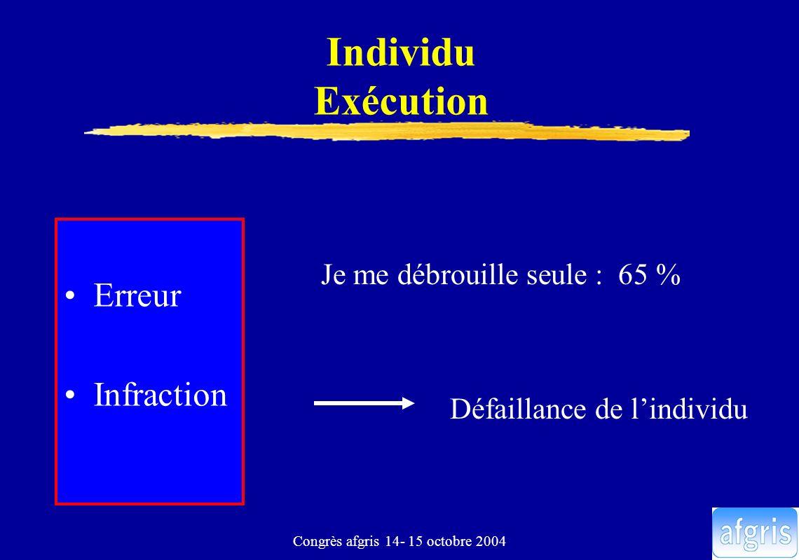 Congrès afgris 14- 15 octobre 2004 Individu Exécution Erreur Infraction Je me débrouille seule : 65 % Défaillance de lindividu