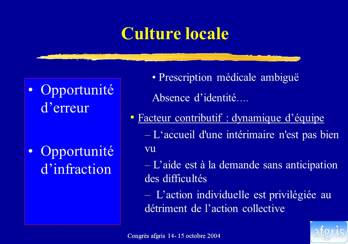 Congrès afgris 14- 15 octobre 2004 Culture locale Opportunité derreur Opportunité dinfraction Prescription médicale ambiguë Absence didentité …. Facte