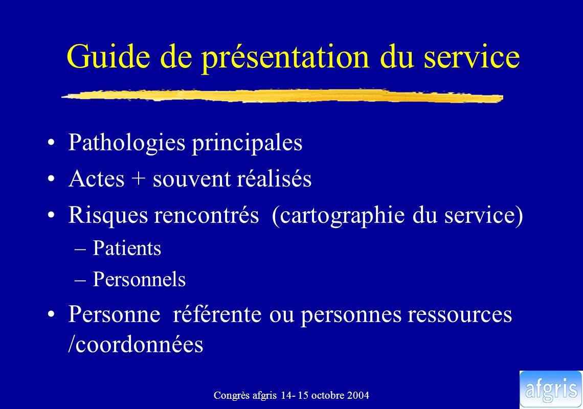 Congrès afgris 14- 15 octobre 2004 Guide de présentation du service Pathologies principales Actes + souvent réalisés Risques rencontrés (cartographie