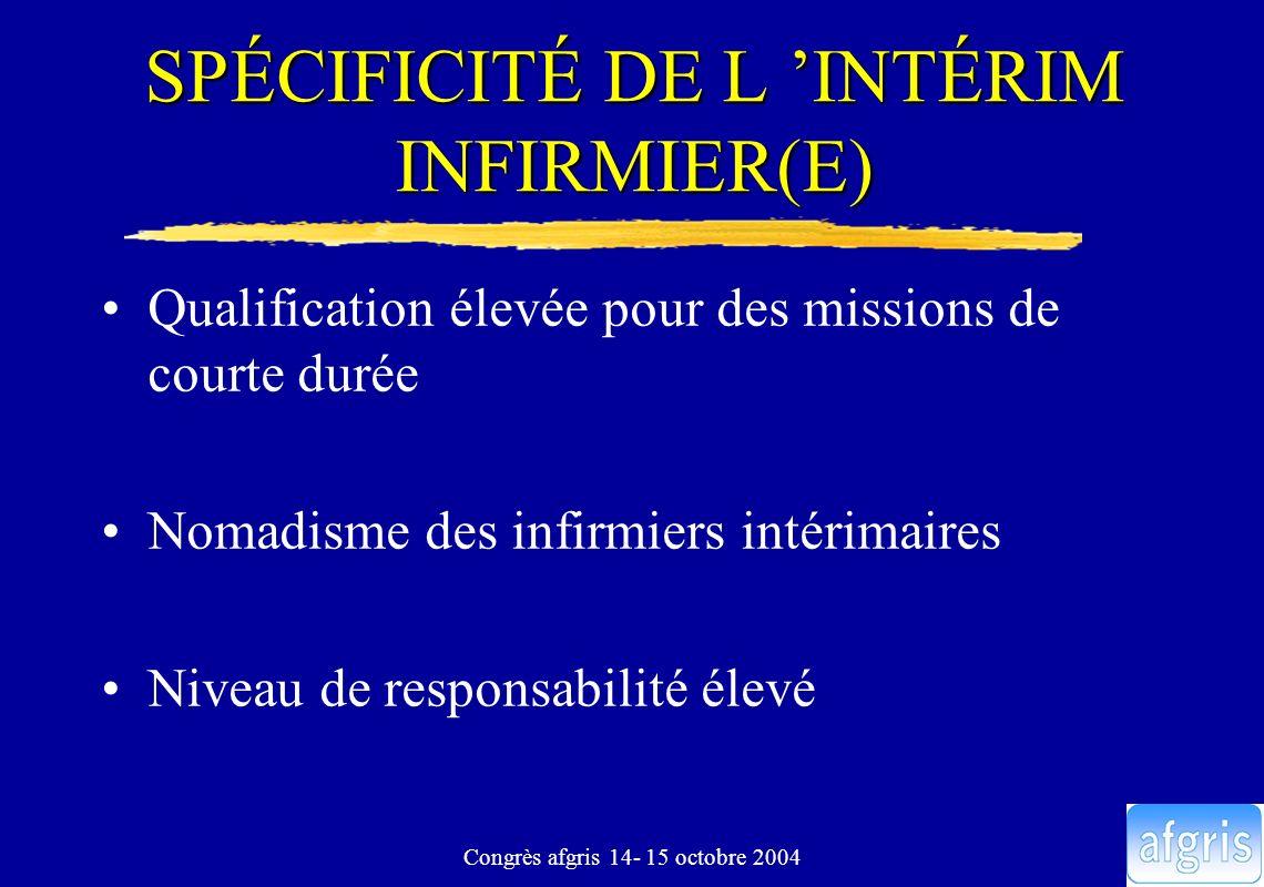 Congrès afgris 14- 15 octobre 2004 SPÉCIFICITÉ DE L INTÉRIM INFIRMIER(E) Qualification élevée pour des missions de courte durée Nomadisme des infirmie