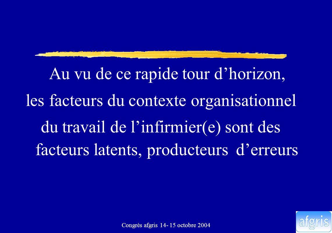 Congrès afgris 14- 15 octobre 2004 Quelles difficultés pour assurer la prise en charge des patients Manque de connaissance de : –lorganisation –des patients : nom, soins… –la localisation du matériel, médicaments..