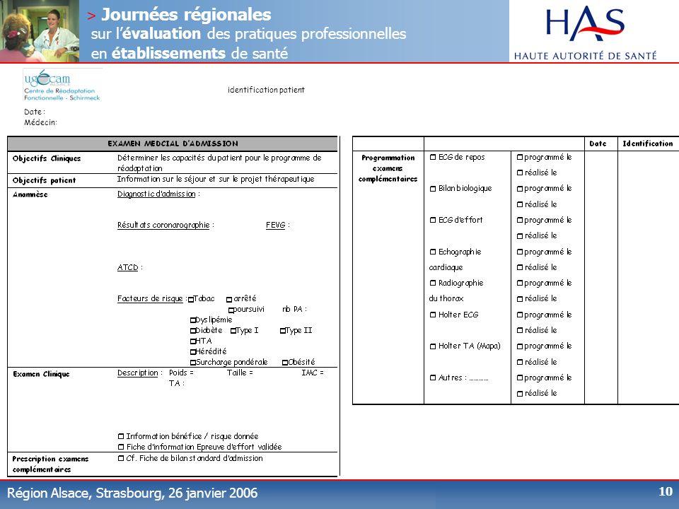 > Journées régionales sur lévaluation des pratiques professionnelles en établissements de santé Région Alsace, Strasbourg, 26 janvier 2006 10 identifi